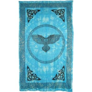 Owl Turquoise Blue Full Size Cotton Tapestry Majestic Dragonfly Home Decor, Artwork, Unique Decorations