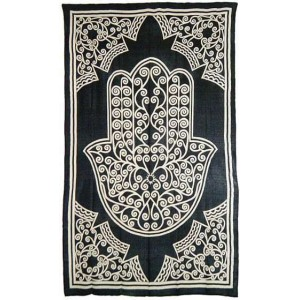 Hamsa Hand of Protection Cotton Full Size Bedspread Majestic Dragonfly Home Decor, Artwork, Unique Decorations