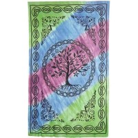 Tree of Life Tie Dye Cotton Full Size Bedspread