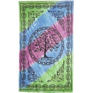 Tree of Life Tie Dye Cotton Full Size Bedspread Majestic Dragonfly Home Decor, Artwork, Unique Decorations