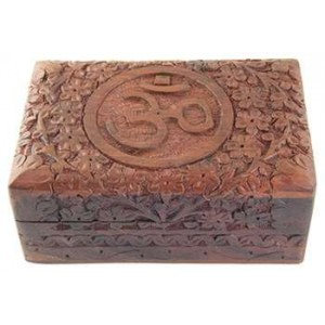 Om Symbol Floral Carved Wood Box - 6 Inches Majestic Dragonfly Home Decor, Artwork, Unique Decorations