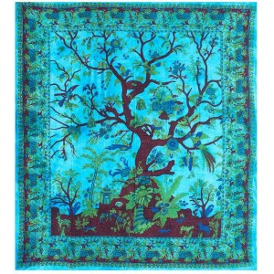 Tree of Life Blue Double Tapestry Majestic Dragonfly Home Decor, Artwork, Unique Decorations