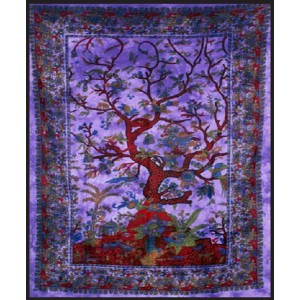 Tree of Life Purple Double Tapestry Majestic Dragonfly Home Decor, Artwork, Unique Decorations