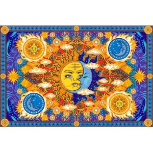 Firey Sun and Moon Cotton Bedspread Majestic Dragonfly Home Decor, Artwork, Unique Decorations