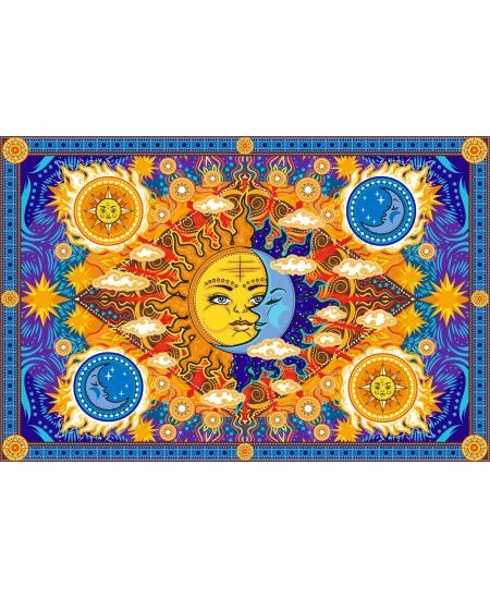 Firey Sun and Moon Cotton Bedspread at Majestic Dragonfly, Home Decor, Artwork, Unique Decorations