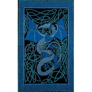 Celtic English Dragon Tapestry - Twin Size Blue Majestic Dragonfly Home Decor, Artwork, Unique Decorations