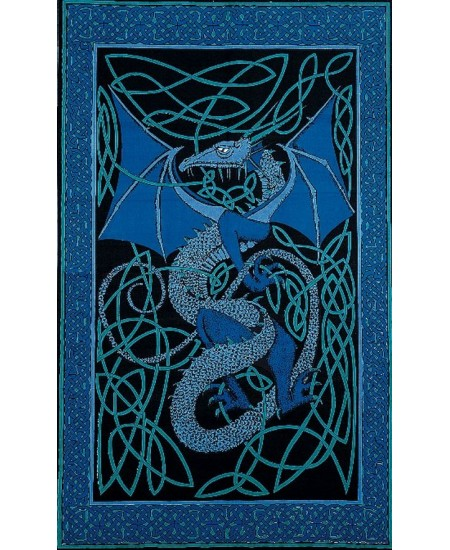 Celtic English Dragon Tapestry - Twin Size Blue at Majestic Dragonfly, Home Decor, Artwork, Unique Decorations