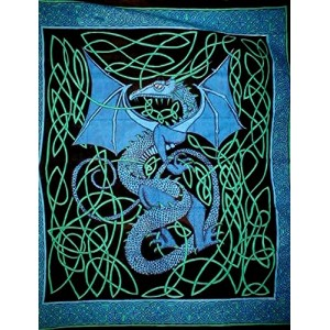 Celtic English Dragon Tapestry - Full Size Blue Majestic Dragonfly Home Decor, Artwork, Unique Decorations