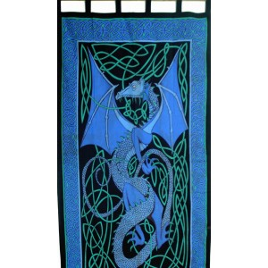 Celtic English Dragon Curtain - Blue Majestic Dragonfly Home Decor, Artwork, Unique Decorations