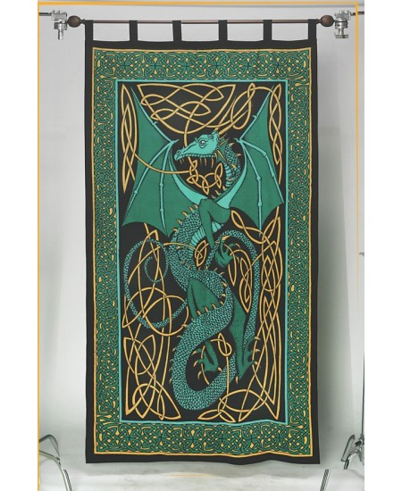 Celtic English Dragon Curtain - Green at Majestic Dragonfly, Home Decor, Artwork, Unique Decorations