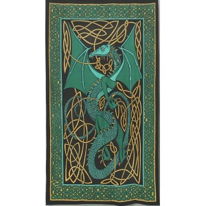 Celtic English Dragon Tapestry - Twin Size Green Majestic Dragonfly Home Decor, Artwork, Unique Decorations