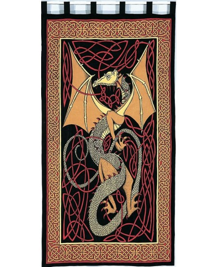 Celtic English Dragon Curtain - Red at Majestic Dragonfly, Home Decor, Artwork, Unique Decorations