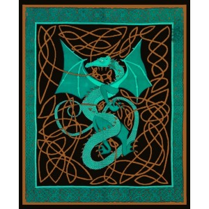 Celtic English Dragon Tapestry - Full Size Green Majestic Dragonfly Home Decor, Artwork, Unique Decorations
