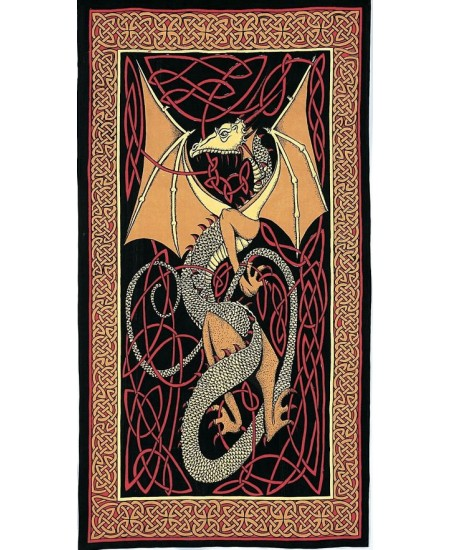 Celtic English Dragon Tapestry - Twin Size Red at Majestic Dragonfly, Home Decor, Artwork, Unique Decorations