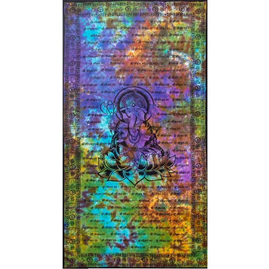Ganesh Tie Dye Full Size Cotton Tapestry At Majestic Dragonfly Home Decor Artwork