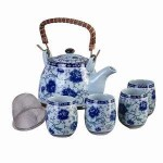 Blue Large Floral Ceramic Tea Set at Majestic Dragonfly, Home Decor, Artwork, Unique Decorations