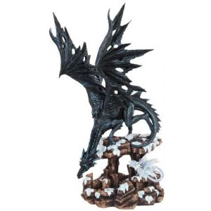 Daddy Time Black Dragon and Young Statue Majestic Dragonfly Home Decor, Artwork, Unique Decorations