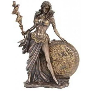 Frigga Norse Goddess Bronze Statue Majestic Dragonfly Home Decor, Artwork, Unique Decorations