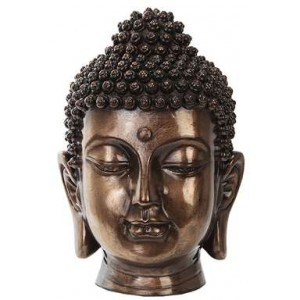 Buddha Head Small Bronze Bust Majestic Dragonfly Home Decor, Artwork, Unique Decorations