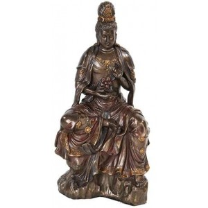 Water and Moon Kuan Yin Bronze Resin Statue Majestic Dragonfly Home Decor, Artwork, Unique Decorations