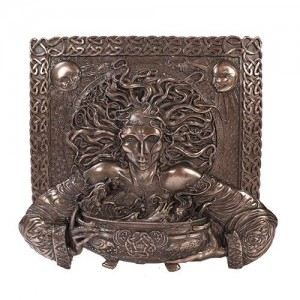Cerridwen Cauldron Celtic Goddess 9 Inch Bronze Finish Plaque Majestic Dragonfly Home Decor, Artwork, Unique Decorations