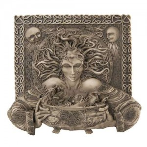 Cerridwen Cauldron Celtic Goddess 9 Inch Stone Finish Plaque Majestic Dragonfly Home Decor, Artwork, Unique Decorations