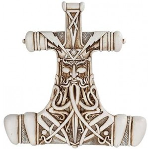 Mjolnir Thor Hammer Bone Resin Plaque