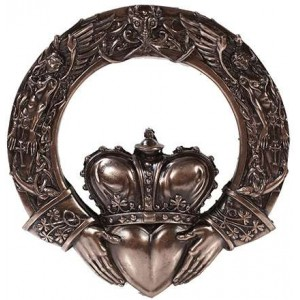 Irish Claddagh Crowned Heart Wall Plaque Majestic Dragonfly Home Decor, Artwork, Unique Decorations