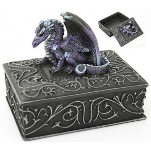 Purple Dragon Square Trinket Box Majestic Dragonfly Home Decor, Artwork, Unique Decorations