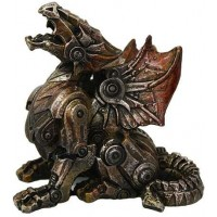 Steampunk Mechanized Small Dragon Statue