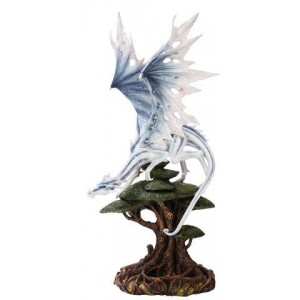 White Winged Dragon Tree Statue Majestic Dragonfly Home Decor, Artwork, Unique Decorations