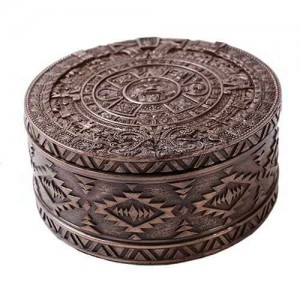 Aztec Bronze Resin Round Trinket Box Majestic Dragonfly Home Decor, Artwork, Unique Decorations