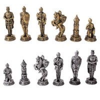 Medieval Knights Chess Set with Glass Board