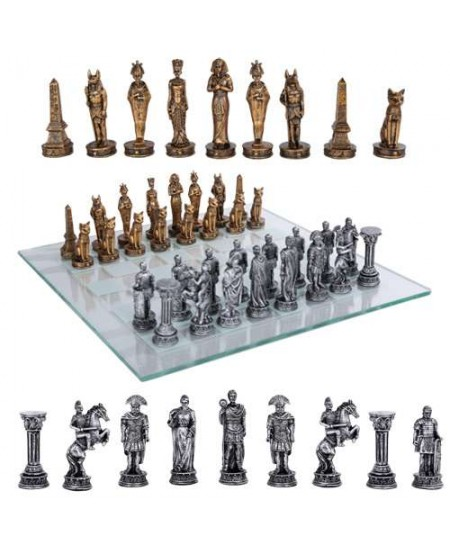 Egypt Vs Rome Chess Set with Glass Board at Majestic Dragonfly, Home Decor, Artwork, Unique Decorations