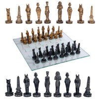 Egyptian Chess Set with Glass Board