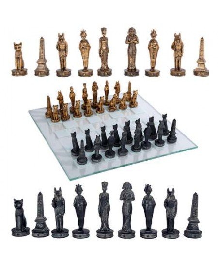Egyptian Chess Set with Glass Board at Majestic Dragonfly, Home Decor, Artwork, Unique Decorations