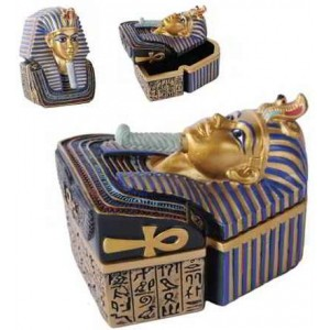 Golden Mask of King Tut Trinket Box Majestic Dragonfly Home Decor, Artwork, Unique Decorations