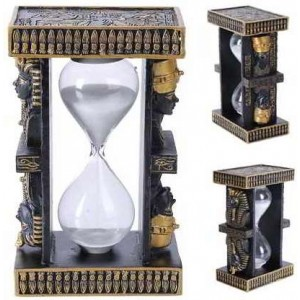 Egyptian King Tut and Nefertiti Sand Timer Majestic Dragonfly Home Decor, Artwork, Unique Decorations