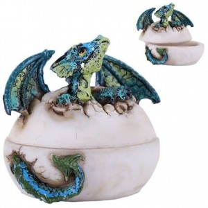 Blue Dragon Egg Box Majestic Dragonfly Home Decor, Artwork, Unique Decorations