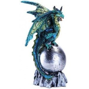 Green Dragon on Orb Fantasy Art Statue Majestic Dragonfly Home Decor, Artwork, Unique Decorations