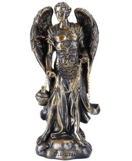 Archangel Saeltiel Small Bronze Christian Statue at Majestic Dragonfly, Home Decor, Artwork, Unique Decorations