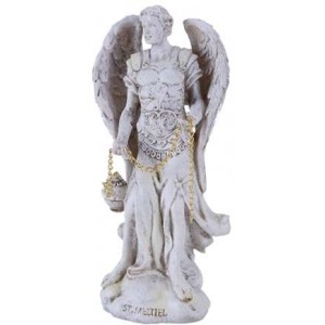 Archangel Saeltiel Small Christian Statue Majestic Dragonfly Home Decor, Artwork, Unique Decorations
