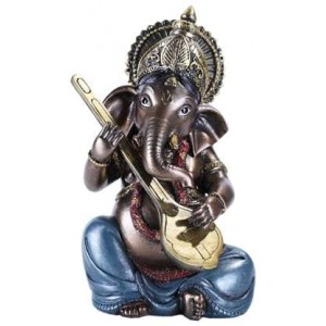 Ganesha with Lute Small Bronze Resin Statue Majestic Dragonfly Home Decor, Artwork, Unique Decorations