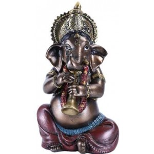 Ganesha with Horn Small Bronze Resin Statue Majestic Dragonfly Home Decor, Artwork, Unique Decorations