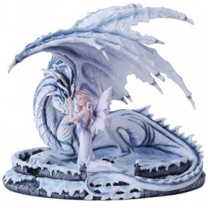 Ice Dragon with Fairy Statue Majestic Dragonfly Home Decor, Artwork, Unique Decorations