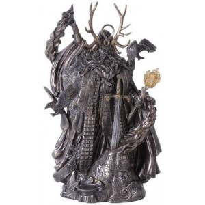 Merlin, Master of Magic Statue with Excalibur Majestic Dragonfly Home Decor, Artwork, Unique Decorations