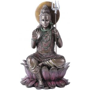 Lord Shiva Seated Bronze Resin Hindu God Statue Majestic Dragonfly Home Decor, Artwork, Unique Decorations