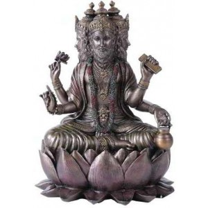 Brahma Bronze Resin Hindu God Statue Majestic Dragonfly Home Decor, Artwork, Unique Decorations