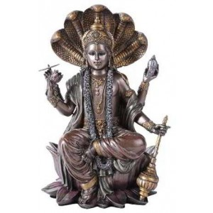 Vishnu Bronze Resin Hindu God Statue Majestic Dragonfly Home Decor, Artwork, Unique Decorations