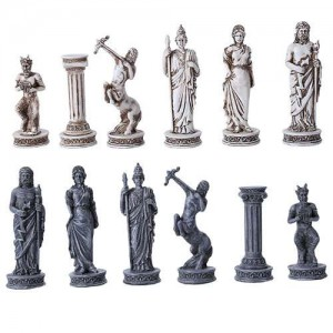 Greek Mythology Gods Chess Set with Glass Board Majestic Dragonfly Home Decor, Artwork, Unique Decorations